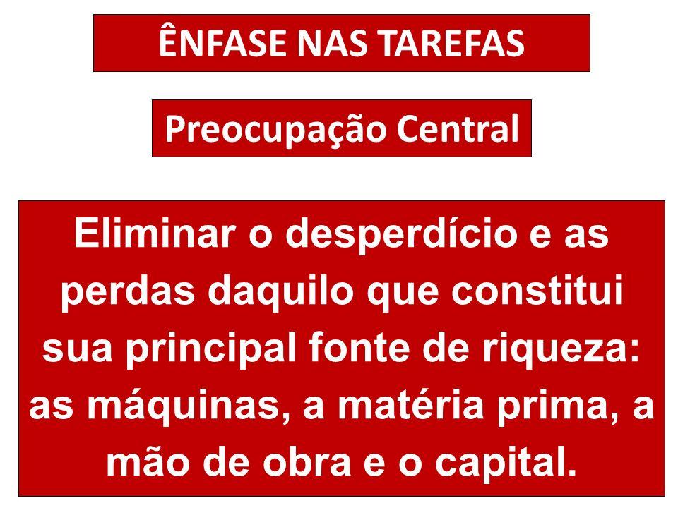 ÊNFASE NAS TAREFAS Preocupação Central.