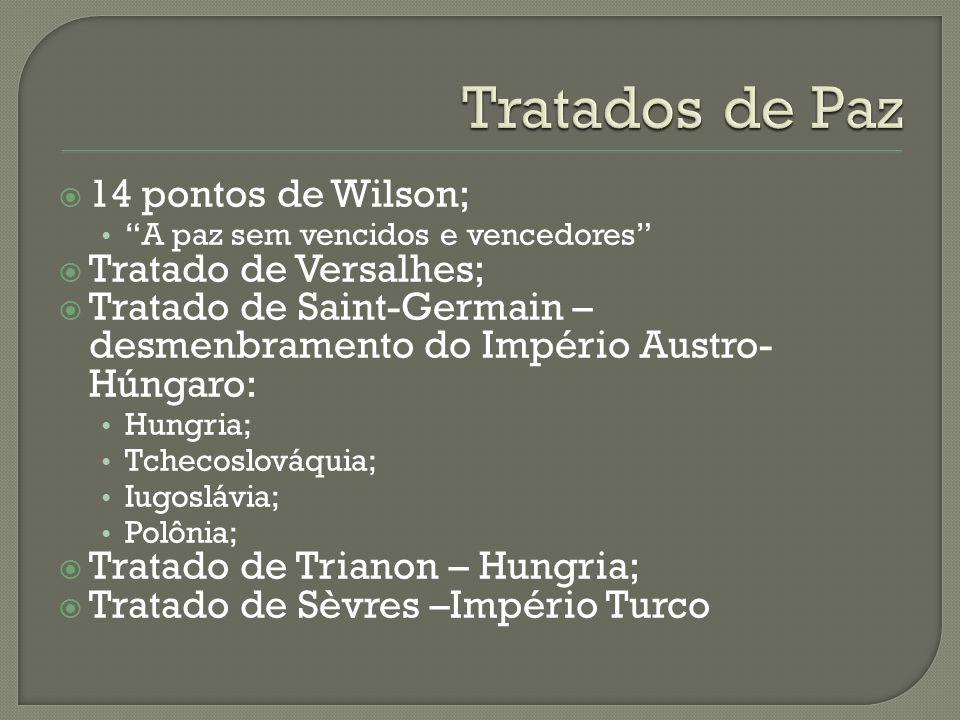 Tratados de Paz 14 pontos de Wilson; Tratado de Versalhes;