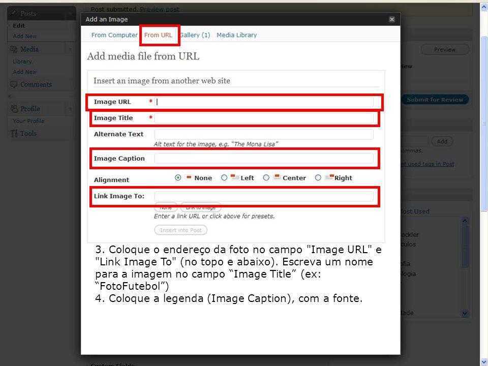3. Coloque o endereço da foto no campo Image URL e Link Image To (no topo e abaixo). Escreva um nome para a imagem no campo Image Title (ex: FotoFutebol )