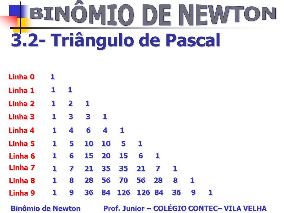 BINÔMIO DE NEWTON 3.2- Triângulo de Pascal Linha 0 Linha 1 Linha 9