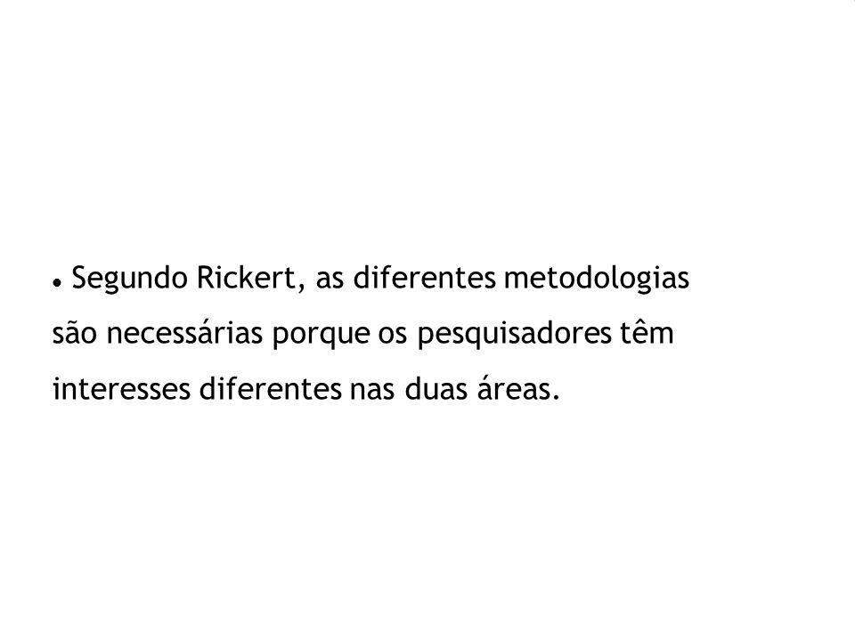Segundo Rickert, as diferentes metodologias são necessárias porque os pesquisadores têm interesses diferentes nas duas áreas.