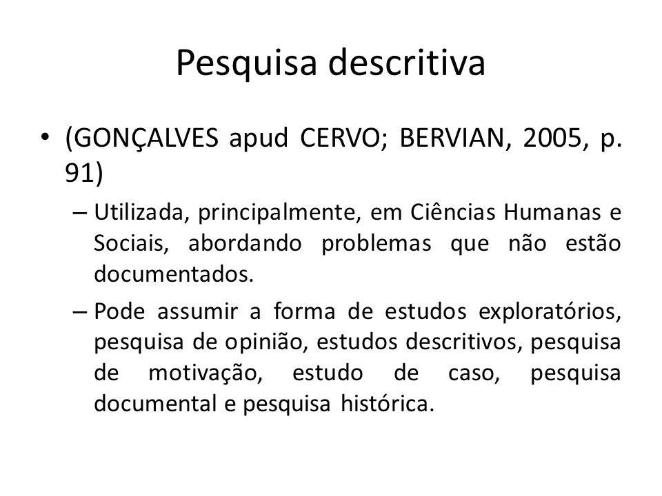Pesquisa descritiva (GONÇALVES apud CERVO; BERVIAN, 2005, p. 91)