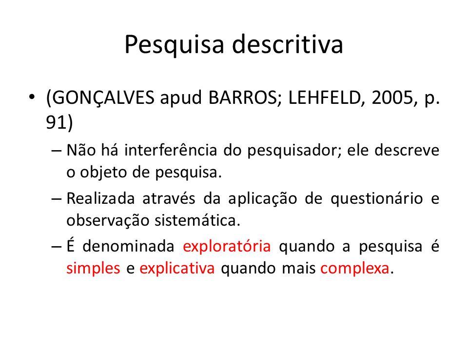Pesquisa descritiva (GONÇALVES apud BARROS; LEHFELD, 2005, p. 91)