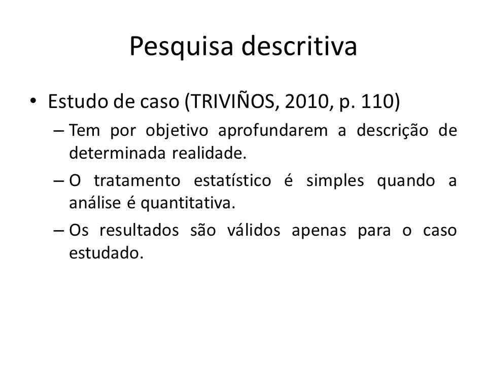 Pesquisa descritiva Estudo de caso (TRIVIÑOS, 2010, p. 110)