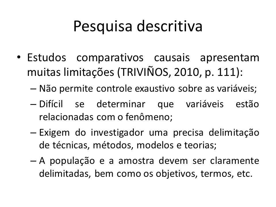 Pesquisa descritiva Estudos comparativos causais apresentam muitas limitações (TRIVIÑOS, 2010, p. 111):