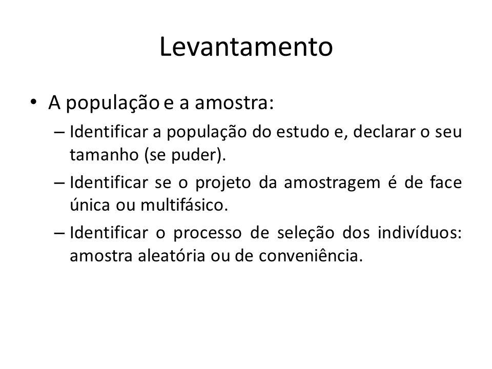 Levantamento A população e a amostra: