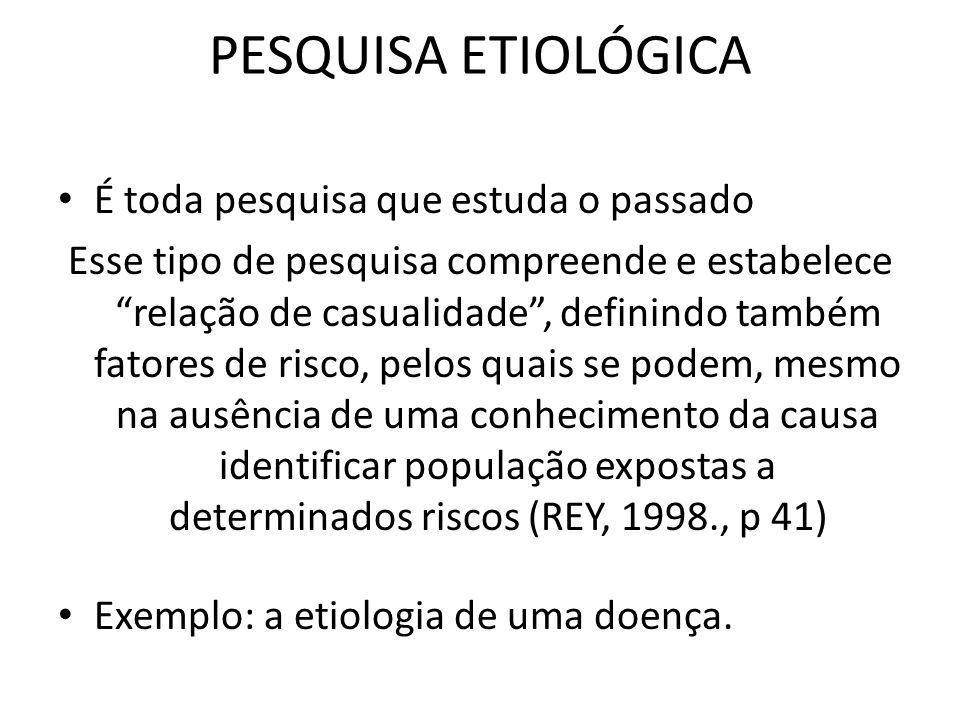 PESQUISA ETIOLÓGICA É toda pesquisa que estuda o passado