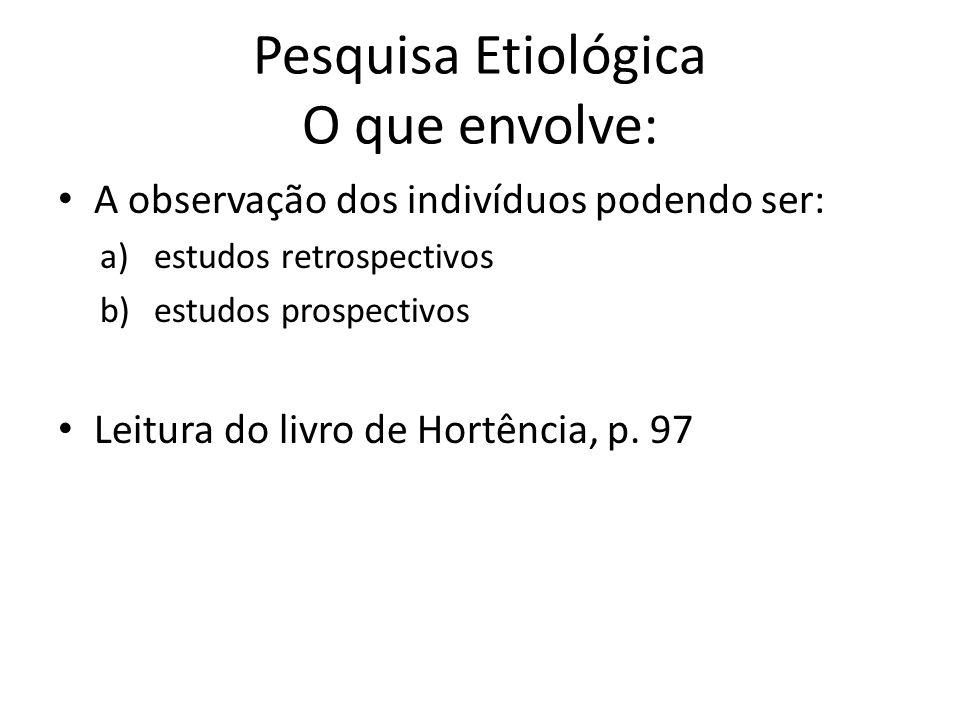 Pesquisa Etiológica O que envolve: