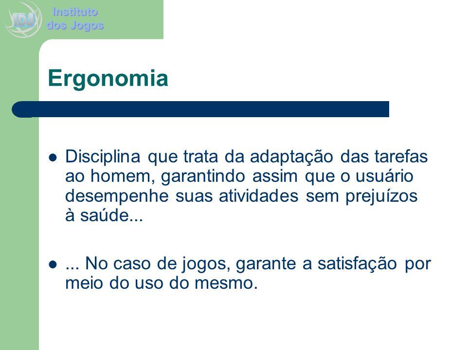 Ergonomia Disciplina que trata da adaptação das tarefas ao homem, garantindo assim que o usuário desempenhe suas atividades sem prejuízos à saúde...