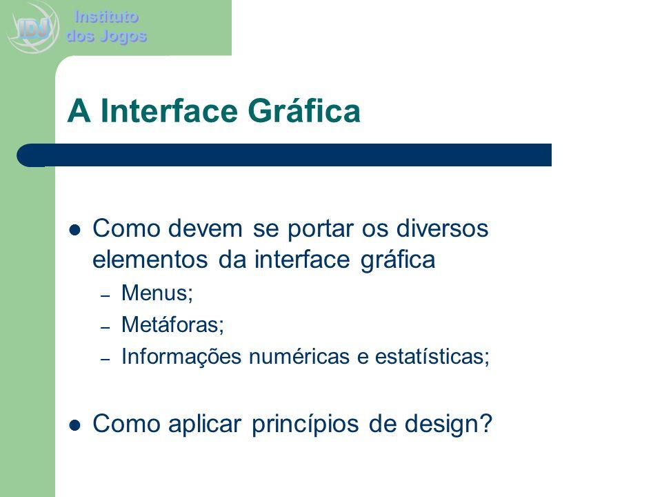 A Interface GráficaComo devem se portar os diversos elementos da interface gráfica. Menus; Metáforas;