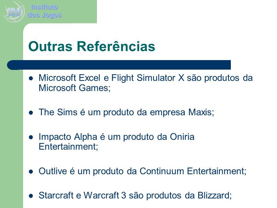 Outras Referências Microsoft Excel e Flight Simulator X são produtos da Microsoft Games; The Sims é um produto da empresa Maxis;