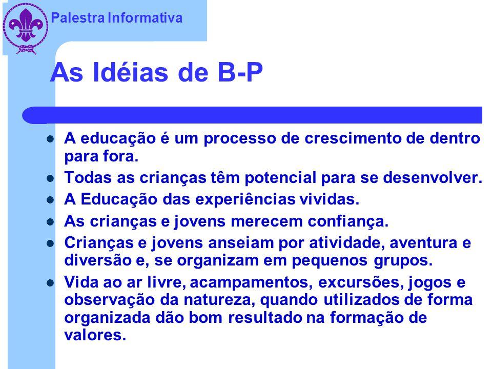 As Idéias de B-P A educação é um processo de crescimento de dentro para fora. Todas as crianças têm potencial para se desenvolver.