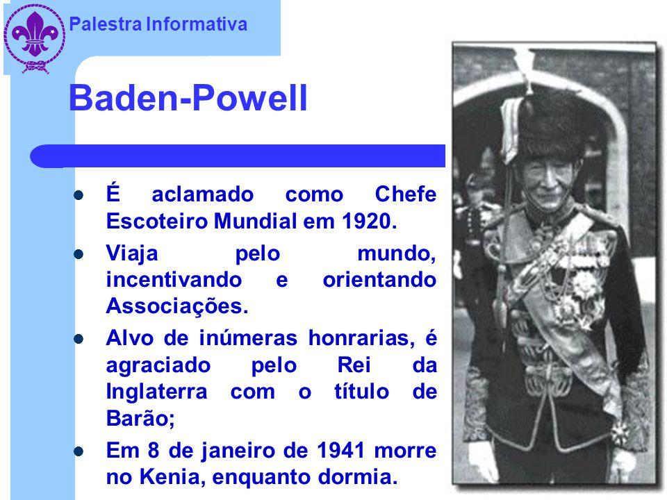 Baden-Powell É aclamado como Chefe Escoteiro Mundial em 1920.