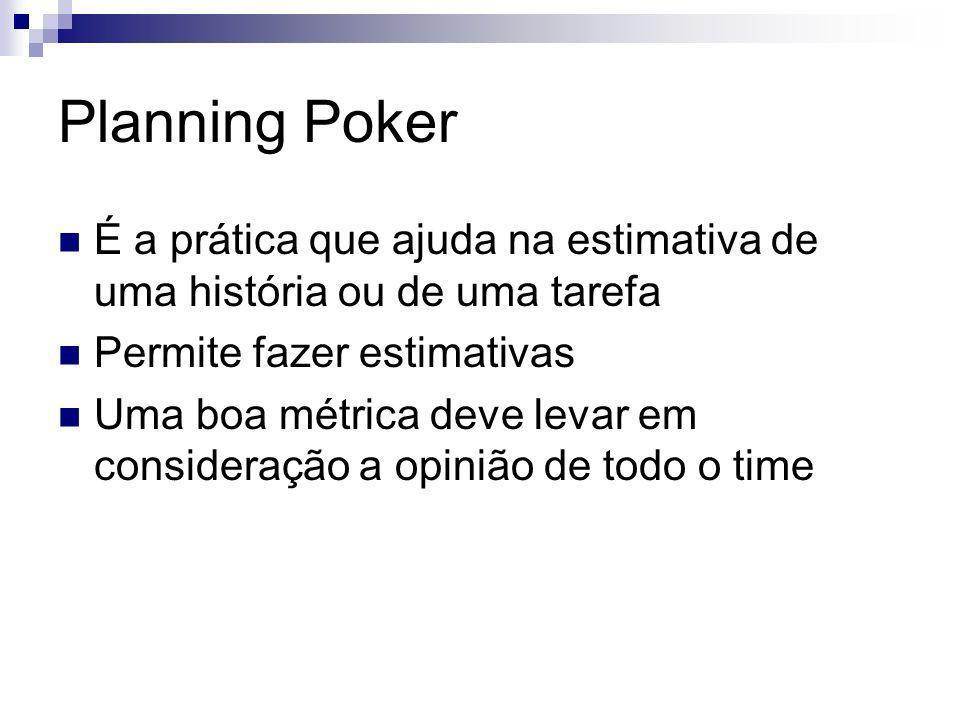 Planning Poker É a prática que ajuda na estimativa de uma história ou de uma tarefa. Permite fazer estimativas.