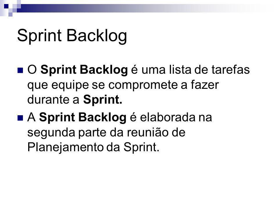 Sprint Backlog O Sprint Backlog é uma lista de tarefas que equipe se compromete a fazer durante a Sprint.