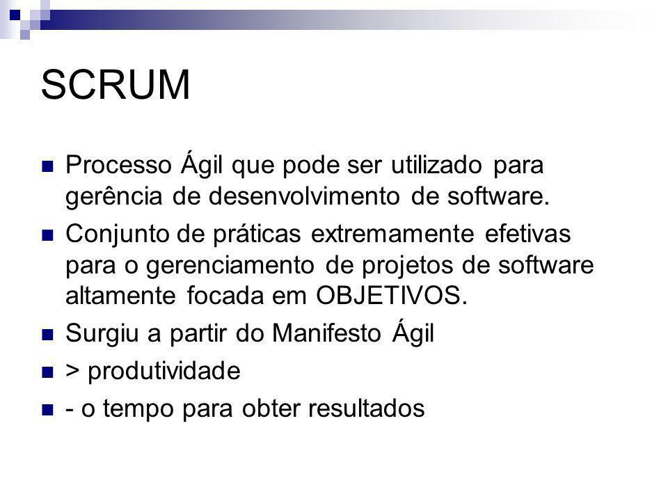 SCRUM Processo Ágil que pode ser utilizado para gerência de desenvolvimento de software.