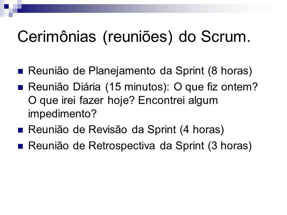 Cerimônias (reuniões) do Scrum.
