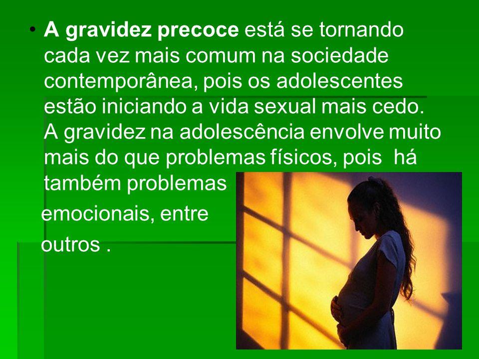 A gravidez precoce está se tornando cada vez mais comum na sociedade contemporânea, pois os adolescentes estão iniciando a vida sexual mais cedo. A gravidez na adolescência envolve muito mais do que problemas físicos, pois há também problemas