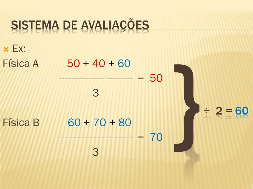 } Sistema de avaliações ÷ 2 = 60 Ex: Física A 50 + 40 + 60