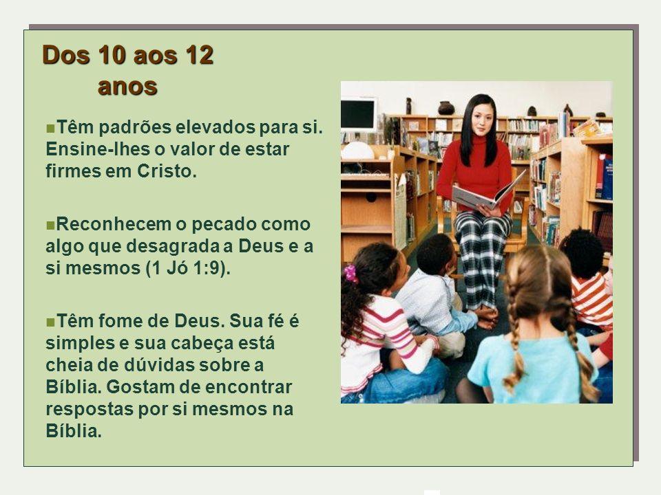 Dos 10 aos 12 anosTêm padrões elevados para si. Ensine-lhes o valor de estar firmes em Cristo.