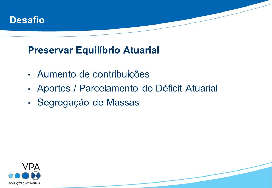 Desafio Preservar Equilíbrio Atuarial. Aumento de contribuições. Aportes / Parcelamento do Déficit Atuarial.