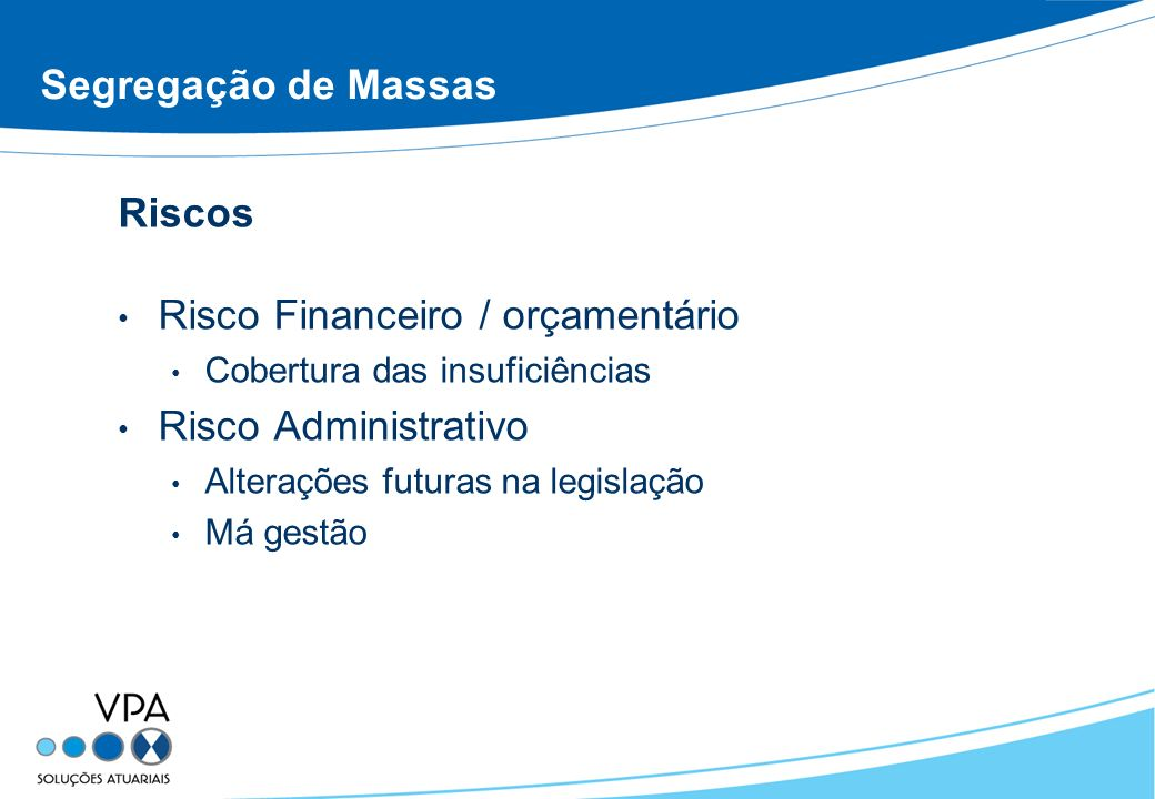 Risco Financeiro / orçamentário Risco Administrativo