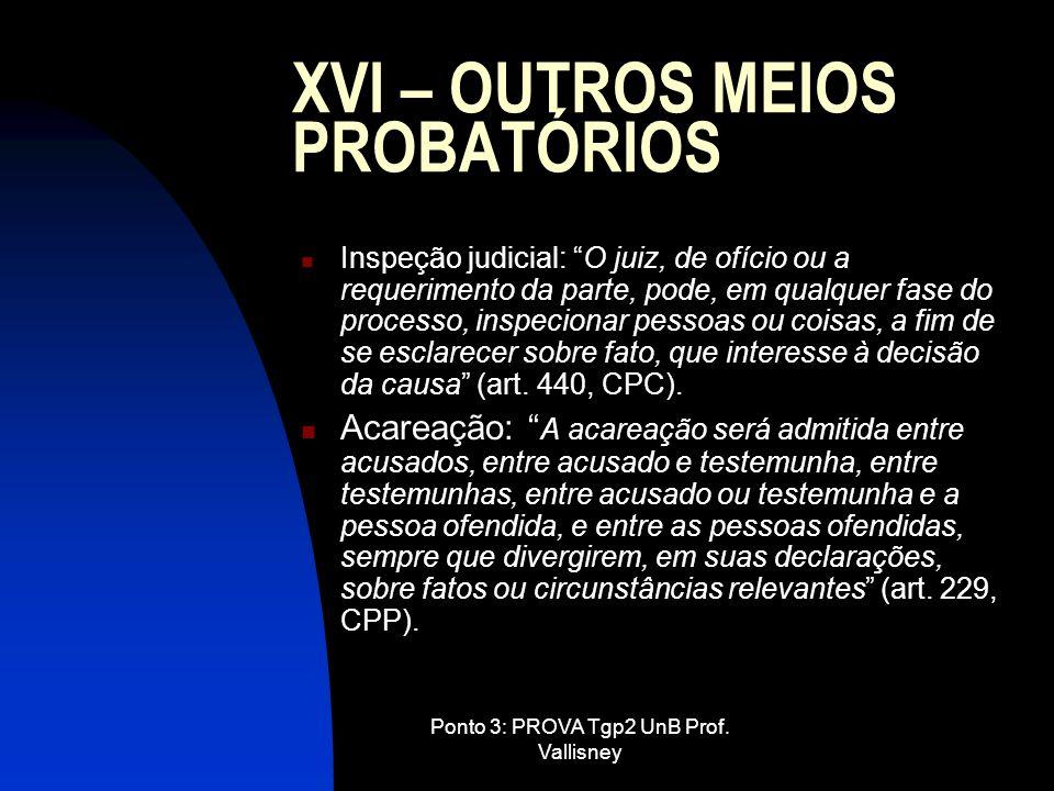 XVI – OUTROS MEIOS PROBATÓRIOS