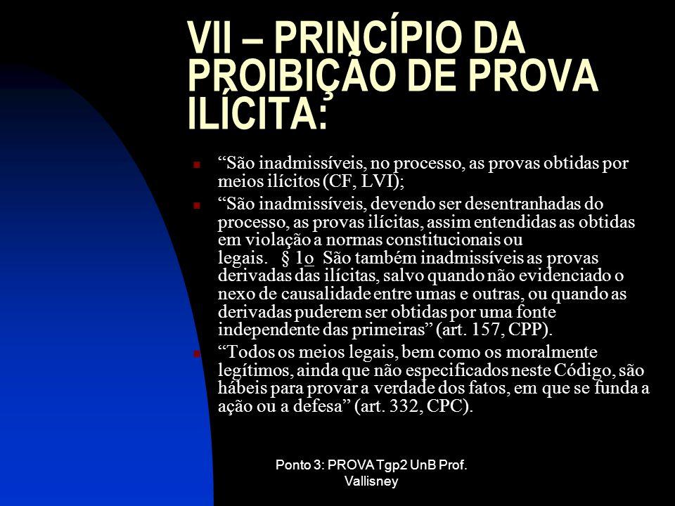 VII – PRINCÍPIO DA PROIBIÇÃO DE PROVA ILÍCITA: