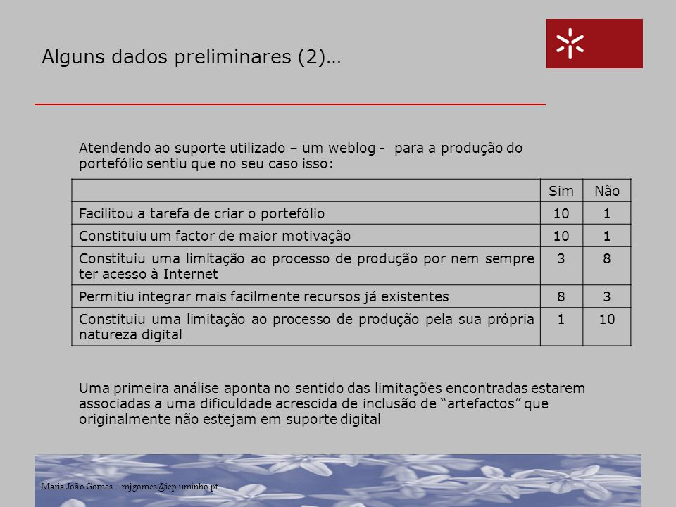 Alguns dados preliminares (2)…