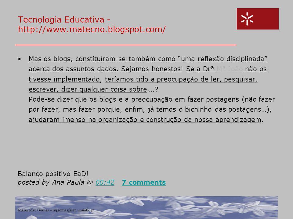 Tecnologia Educativa - http://www.matecno.blogspot.com/