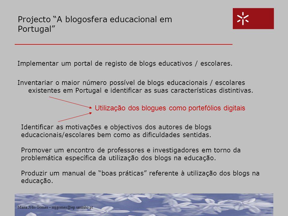 Projecto A blogosfera educacional em Portugal