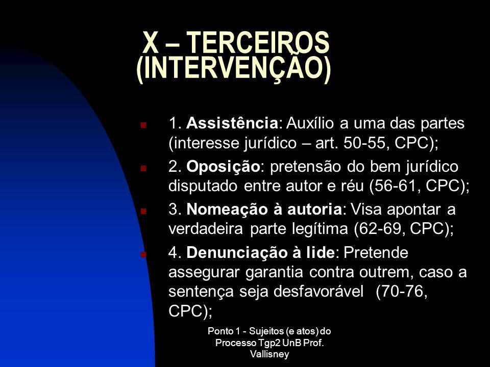 X – TERCEIROS (INTERVENÇÃO)