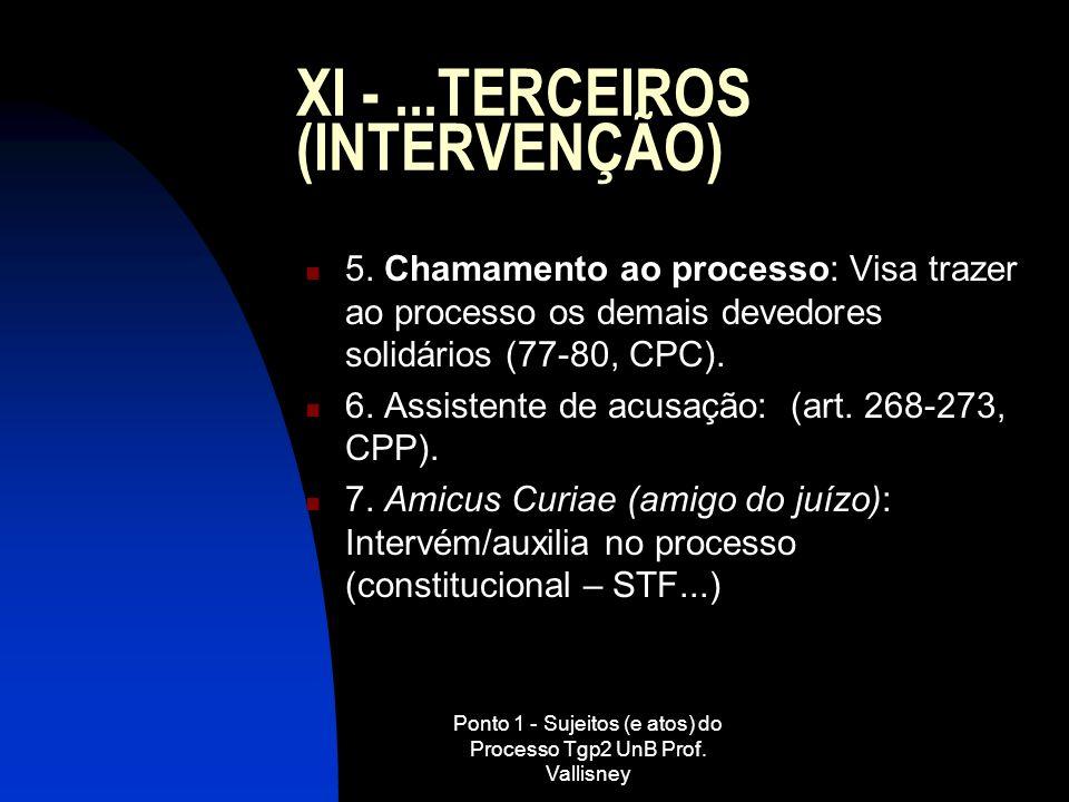 XI - ...TERCEIROS (INTERVENÇÃO)