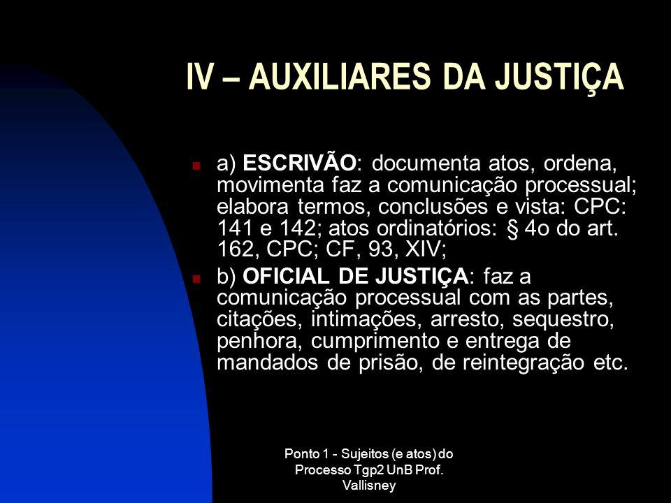 IV – AUXILIARES DA JUSTIÇA
