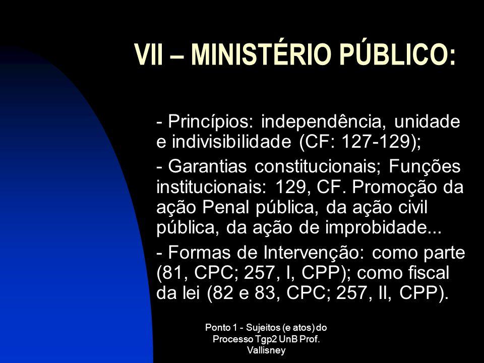 VII – MINISTÉRIO PÚBLICO: