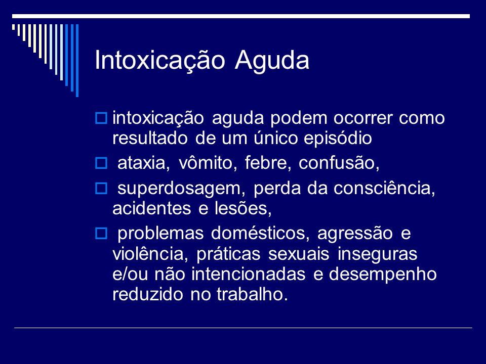 Intoxicação Aguda intoxicação aguda podem ocorrer como resultado de um único episódio. ataxia, vômito, febre, confusão,
