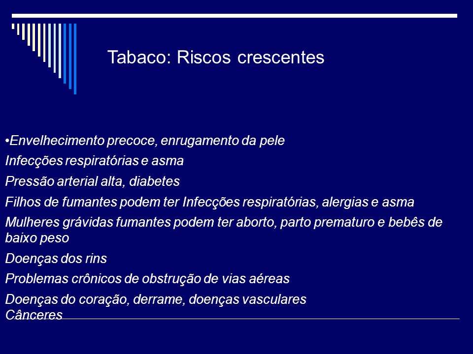 Tabaco: Riscos crescentes