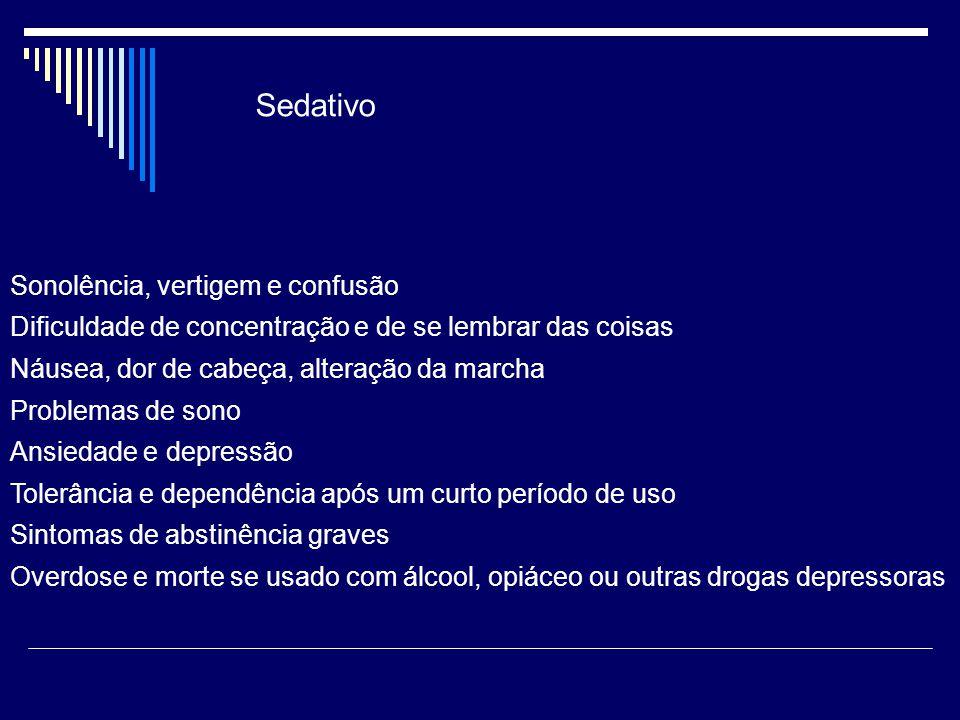 Sedativo Sonolência, vertigem e confusão