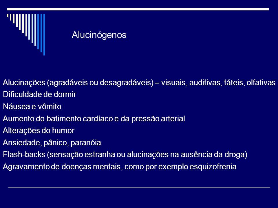 Alucinógenos Alucinações (agradáveis ou desagradáveis) – visuais, auditivas, táteis, olfativas. Dificuldade de dormir.
