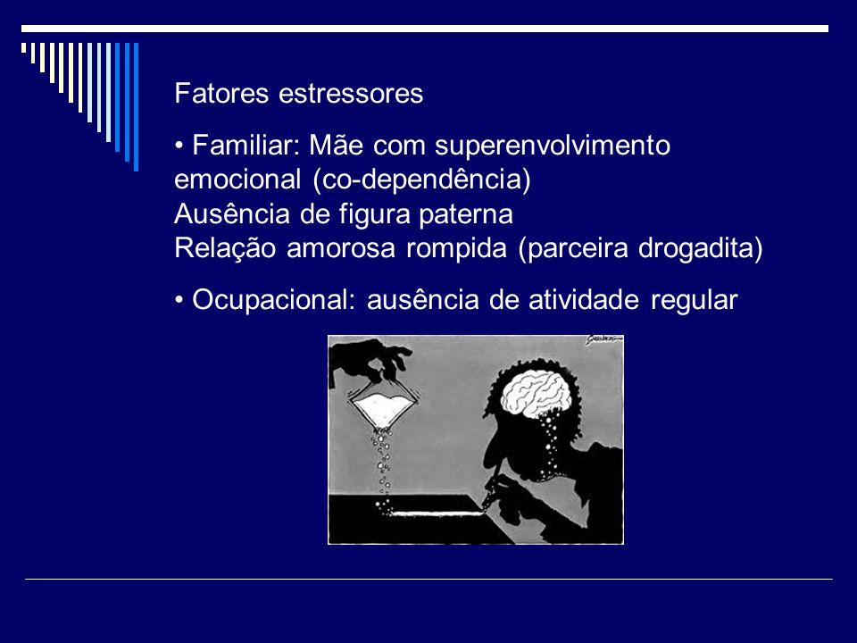 Fatores estressores Familiar: Mãe com superenvolvimento emocional (co-dependência) Ausência de figura paterna.