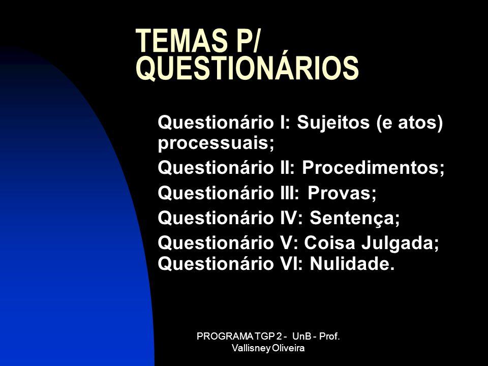 TEMAS P/ QUESTIONÁRIOS