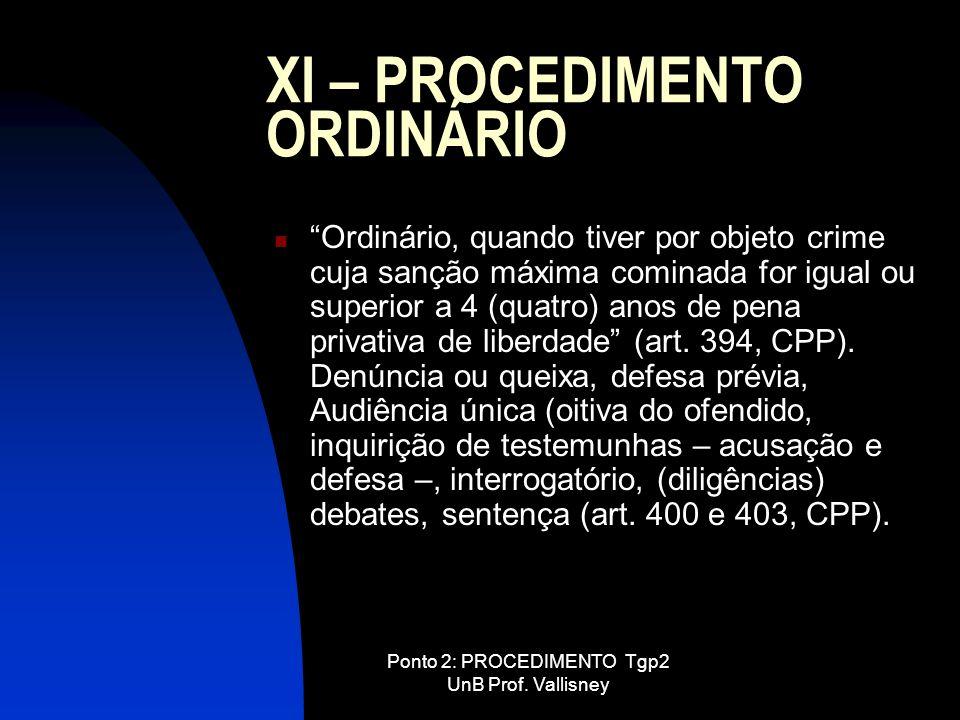 XI – PROCEDIMENTO ORDINÁRIO