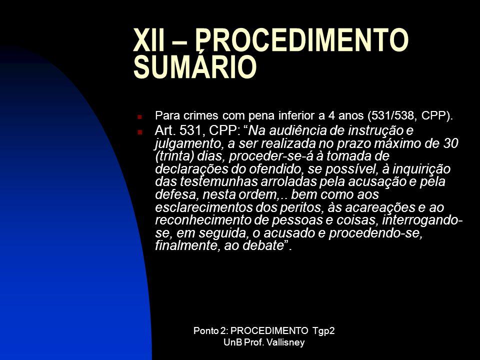 XII – PROCEDIMENTO SUMÁRIO