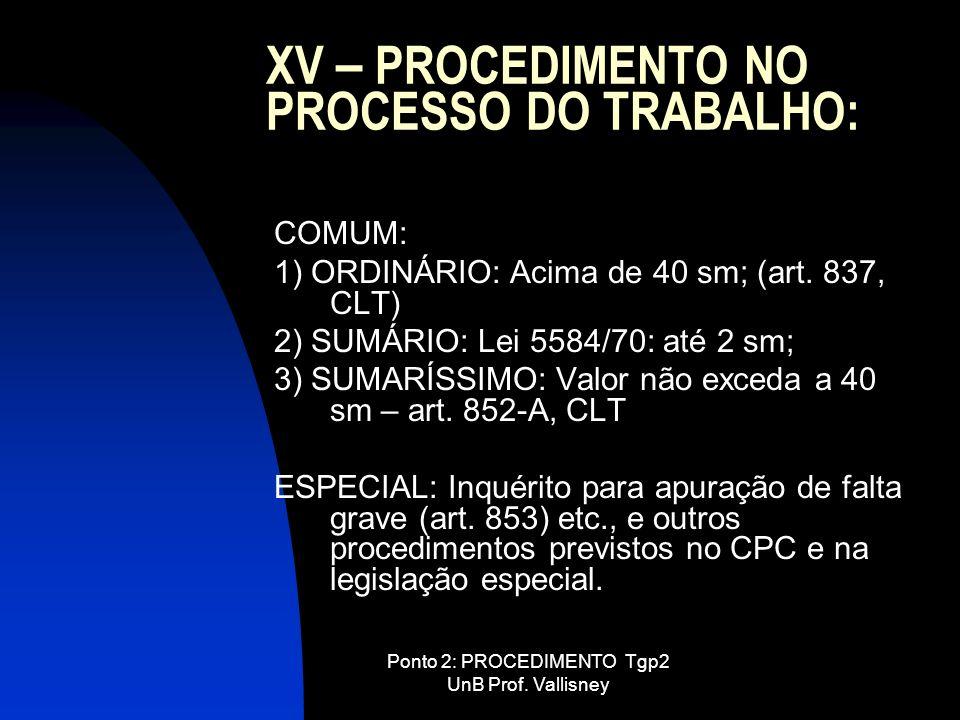 XV – PROCEDIMENTO NO PROCESSO DO TRABALHO: