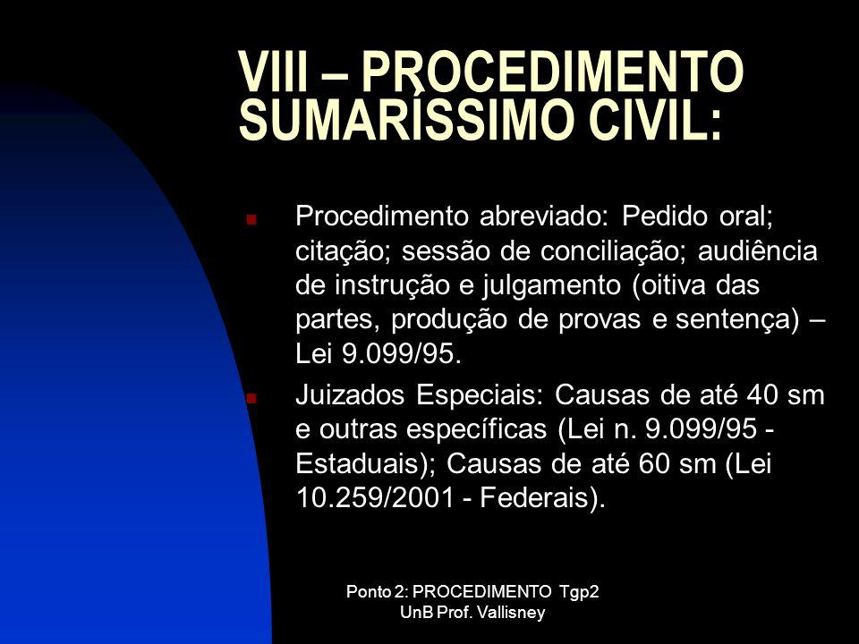 VIII – PROCEDIMENTO SUMARÍSSIMO CIVIL:
