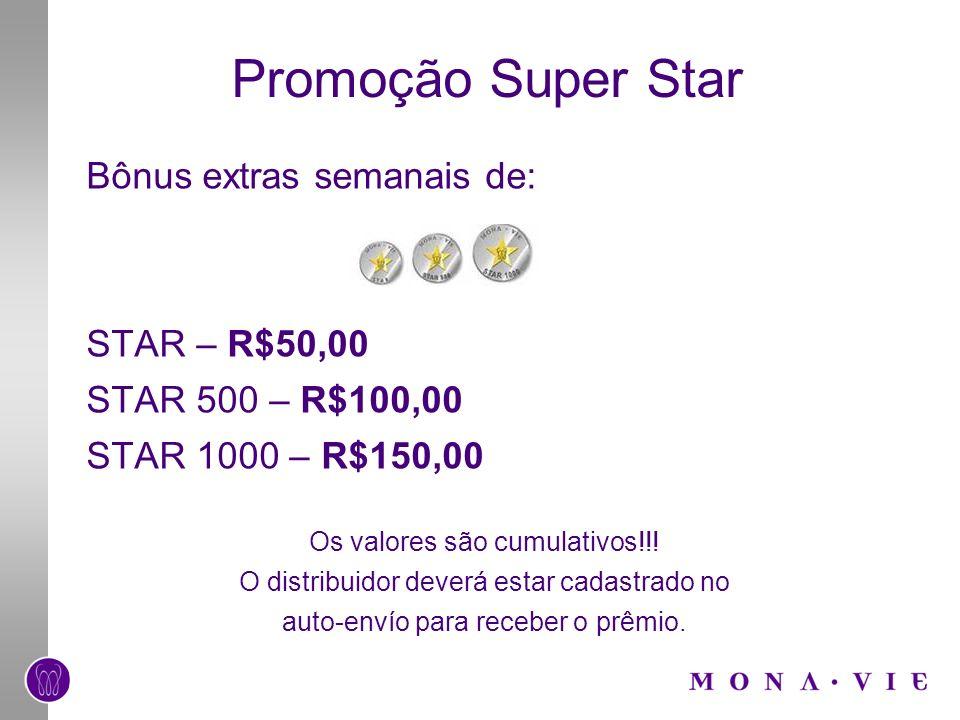 Promoção Super Star Bônus extras semanais de: STAR – R$50,00