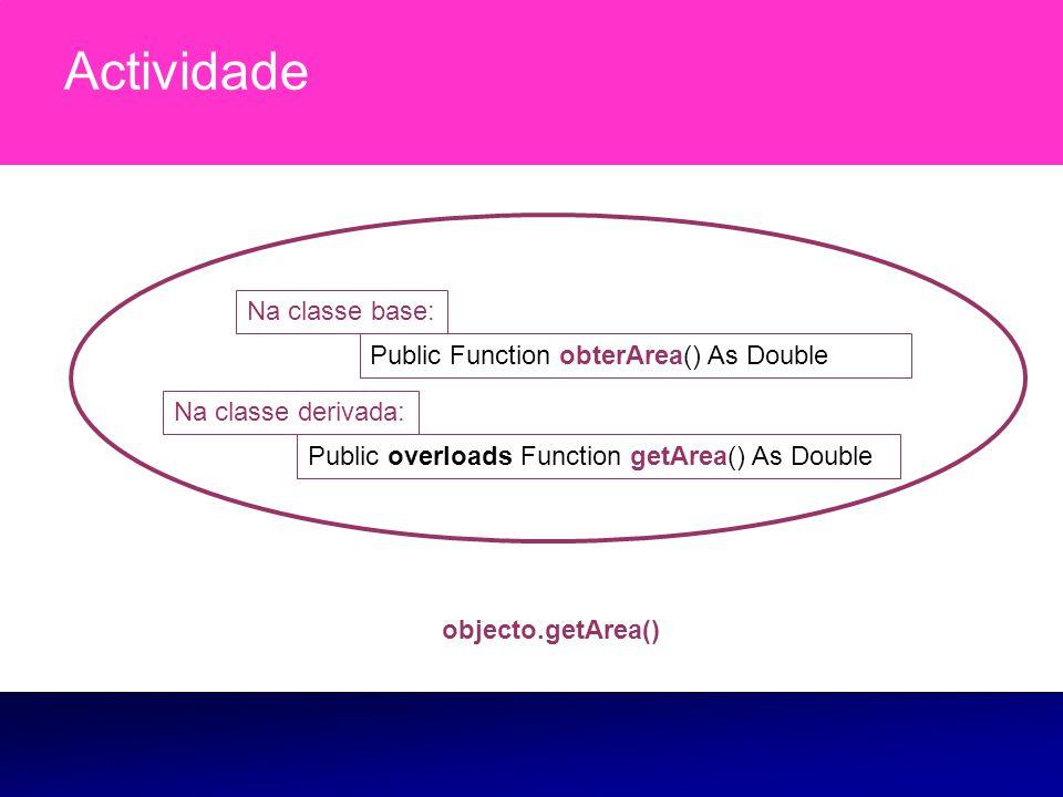 Actividade Na classe base: Public Function obterArea() As Double