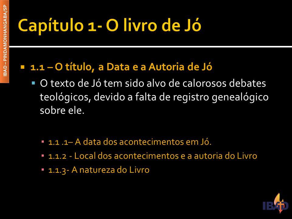 Capítulo 1- O livro de Jó 1.1 – O título, a Data e a Autoria de Jó