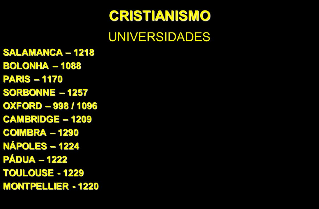 CRISTIANISMO UNIVERSIDADES SALAMANCA – 1218 BOLONHA – 1088