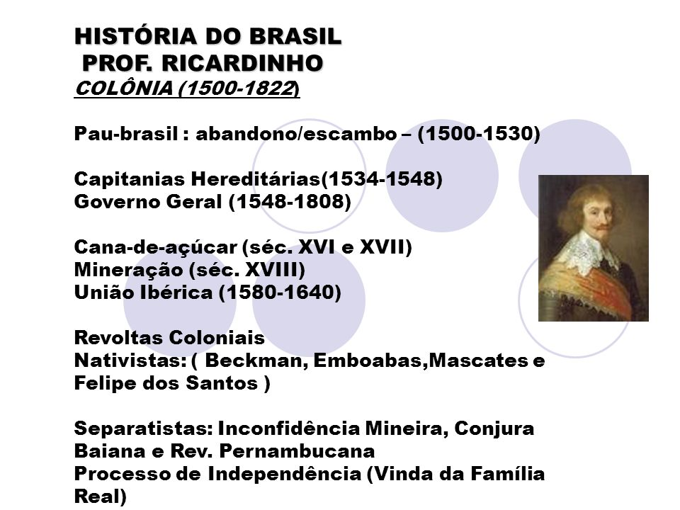 HISTÓRIA DO BRASIL PROF. RICARDINHO COLÔNIA (1500-1822)